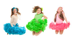 Fashion kids jumping. Happy smiling  fashion kids jumping Stock Images