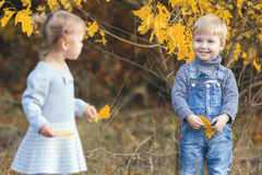 Fashion kids outdoor at fall season. Has date Stock Photography