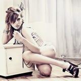 Fashion konstståenden av en härlig ung sexig wo Royaltyfria Bilder