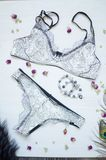 Fashion lace underwear. Women white and black sexy bra and panti Royalty Free Stock Photos