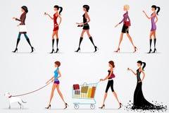 Fashion ladies. Illustration of fashion ladies on white background Stock Photo