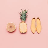 Fashion ladies summer style set. Vanilla fruits and shoes.  Royalty Free Stock Photos