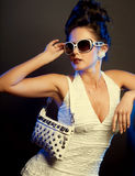 Fashion lady. With sunglasses.studio shot Royalty Free Stock Photos
