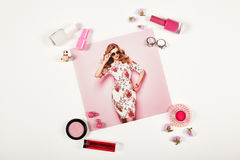 Fashion lady accessories collage royalty free stock image