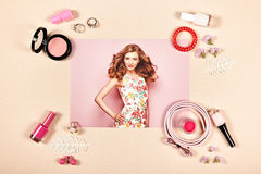 Fashion lady accessories collage Stock Photos