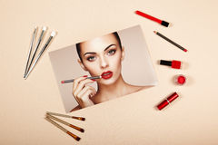 Fashion lady accessories collage Royalty Free Stock Photos