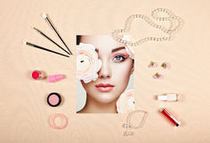 Fashion lady accessories collage stock image
