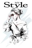 Fashion lady. Beautiful young woman portrait. Fashion woman in sunglasses. Stylish girl. Sketch. Stock Images