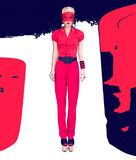 Fashion lady Black and red style Stock Images
