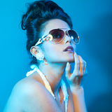 Fashion lady, cold tones. Fashion lady with sunglasses, cold tones Royalty Free Stock Image