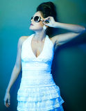 Fashion lady, cold tones. Fashion lady with sunglasses, cold tones Stock Images