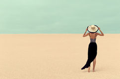 Fashion Lady in the Desert on vacation Royalty Free Stock Images