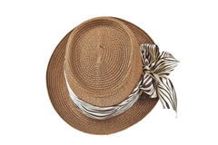 Fashion lady hat top view. Isolated on white background stock photo
