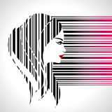 Fashion lady make on bar-code Royalty Free Stock Photos