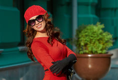 Fashion Lady In Red Dress Stock Image