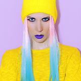 Fashion lady style. Trendy hairs & Make Up.  royalty free stock photography
