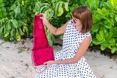 fashion ladyen strandstil Kläder för semestrar Klä med den stilfulla designen, lyxig påse för snakeskinpytonormkoppling Nusa Arkivbild