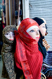 Fashion lay figures wearing headscarf accessory in souk Damascus Syria Stock Photos