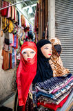Fashion lay figures wearing headscarf accessory in souk Damascus Syria Royalty Free Stock Images