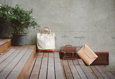 Fashion Leather Bags. Grunge Background royalty free stock photography