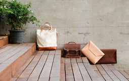 Fashion Leather Bags on grunge background Stock Photography