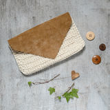 Fashion Leather Bags on grunge concrete background Stock Images