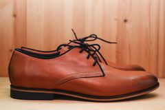Fashion leather male shoes. Brown fashion leather male shoes Stock Photo