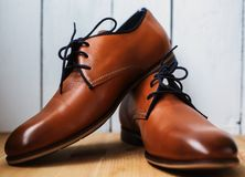 Fashion leather men shoes Stock Photography