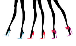 Fashion Legs in Colorful Shoes Royalty Free Stock Images