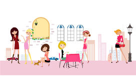 Fashion life. Fashion girls life ,illustration art Stock Images