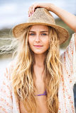 Fashion lifestyle, Attractive woman in hat Stock Photo