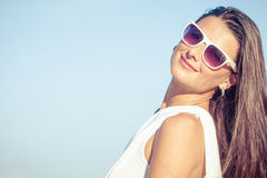 Fashion Lifestyle, Beautiful girl on the beach at the day time Stock Images