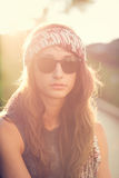 Fashion lifestyle portrait of beautiful young woman Royalty Free Stock Photos