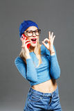 Fashion lifestyle portrait of young hipster girl Royalty Free Stock Photos