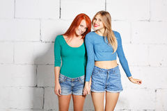 Fashion lifestyle portrait of young hipster girls Stock Image