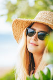 Fashion lifesytle, Portrait of beautiful blond girl on the beach Stock Photos