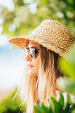 Fashion lifesytle, Portrait of beautiful blond girl on the beach Royalty Free Stock Photography