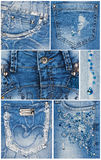 Fashion light blue jeans pockets Royalty Free Stock Photo