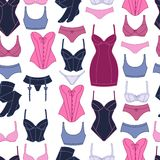 Fashion lingerie seamless pattern with female Royalty Free Stock Photo