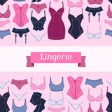 Fashion lingerie seamless pattern with female Royalty Free Stock Photography