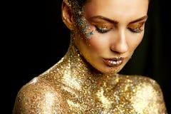 Fashion Lips Beauty Art Makeup, Woman Metallic Lipstick Make Up stock photos