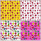 Fashion Lips, Hands and Hearts Seamless Pattern Set. Love and Fashion Backgrounds in Retro Style Royalty Free Stock Photography
