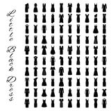 Fashion little black dresses. Big collection of 100 evening gowns. One hundred cocktail woman cloth shopping. Flat vector illustration Stock Images