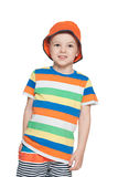 Fashion little boy in cap looks up Stock Photography