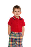 Fashion little boy in red Stock Image