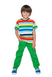 Fashion little boy in a striped shirt Royalty Free Stock Images