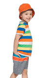 Fashion little boy is walking Royalty Free Stock Image