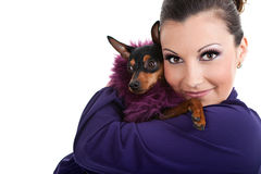 Fashion little dog with woman Stock Image