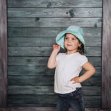 Fashion little girl baby dressed in summer in Panama. Royalty Free Stock Photos