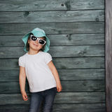 Fashion little girl, a child dressed. Beautiful exhibition. Royalty Free Stock Image